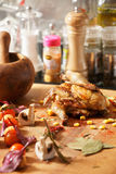Cooked chicken with vegetables Stock Image