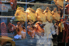 Cooked Chickens in the Window Royalty Free Stock Image