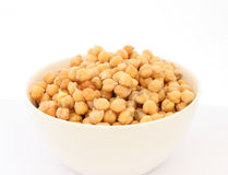 Cooked chickpea in white bowl detail Royalty Free Stock Photos