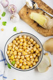 Cooked Chickpeas on a bowl. Chickpeas is nutritious food. Healthy and vegetarian food. Royalty Free Stock Photo
