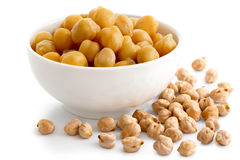 Cooked chickpeas in white bowl on white. Stock Photography