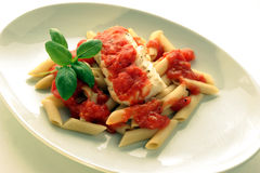 Cooked cod loins with tomato sauce Royalty Free Stock Photos