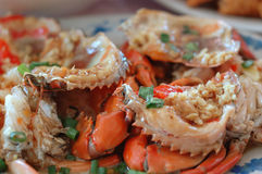 Cooked crab. On a plate of cooked crab Royalty Free Stock Image