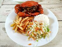 Cooked crabs on white plate served with salad and french fries, stock image