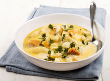 Cooked cullen skink with parsley in a deep plate Stock Photos