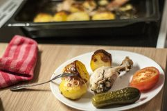 Cooked dinner on a plate. Supper on table. Cooking at home. Eat royalty free stock photos