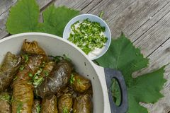 Cooked dolma in pot and plate Stock Photography