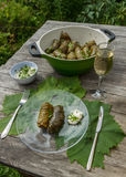 Cooked dolma in pot and plate Royalty Free Stock Image