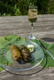 Cooked dolma in pot and plate Royalty Free Stock Photo