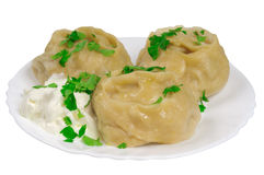 Cooked Dumplings On A Plate Stock Photos