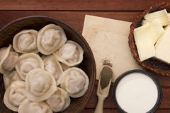 Cooked dumplings on a plate Royalty Free Stock Image
