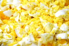Cooked egg. Crushed cooked egg for background Royalty Free Stock Image