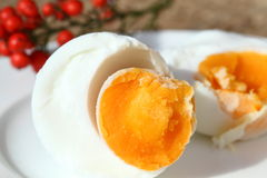 Cooked egg feature. Salted duck egg or preserved egg isolate on white dish Stock Image