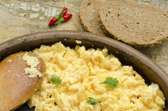 Cooked eggs on a rustic table Stock Images
