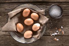 Cooked Eggs with Salt Royalty Free Stock Images