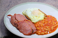 Cooked English breakfast. Egg and bacon. Stock Images