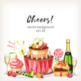 Cooked festive food birthday holiday background. With cake champagne gift sweets vector illustration