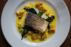 Cooked Filleted Fish on Spinach Leaves and Mussel Sauce Stock Image