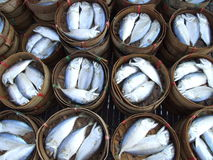 Cooked fish in barrels, Thailand. Stock Photo