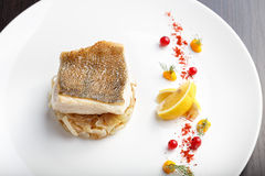 Cooked fish fillet of pike-perch royalty free stock images