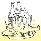 Cooked fish and liqour. Hand drawn image of cooked fish and liqour Royalty Free Stock Images