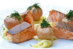 Cooked Fish on Plate Royalty Free Stock Photos