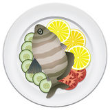 Cooked fish and raw vegetables. On a plate Stock Photography