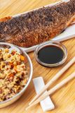 Cooked fish with rice stock photos