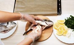 Cooked fish sea bream fish. Stock Photo