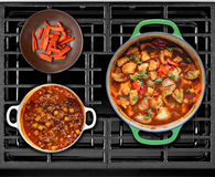 Cooked Food on a Gas Stove Stock Images