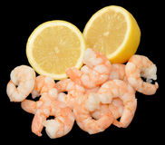 Cooked Fresh Prawns And Lemon Royalty Free Stock Image