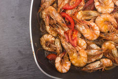 Cooked Fresh Shrimp with Tomato and Onions Stock Photography