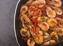 Cooked Fresh Shrimp with Tomato and Onions Stock Photos