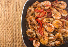 Cooked Fresh Shrimp with Tomato and Onions Royalty Free Stock Photography