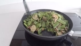 Cooked green beans. stock footage