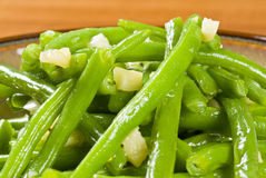 Cooked Green Beans and Garlic Stock Images