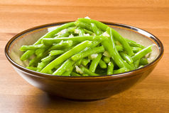 Cooked Green Beans and Garlic Stock Photo