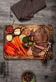 Cooked grill dish with cut meat, top view Royalty Free Stock Photos