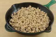 Cooked ground turkey meat. In cast iron frying pan royalty free stock image