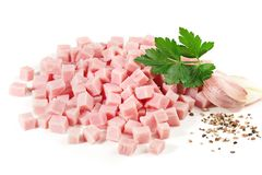 Cooked Ham Cubes stock photo