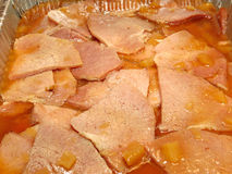 Cooked Ham with Pineapple Chunks Stock Image