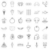 Cooked icons set, outline style. Cooked icons set. Outline style of 36 cooked vector icons for web isolated on white background Royalty Free Stock Photos