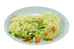 Cooked instant noodles Stock Images