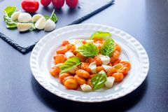 Gnocchi in tomato sauce with green fresh basil and mozzarella balls served on a plate. Italian recipe. Cooked italian gnocchi from potatoes in tomato sauce with royalty free stock photography