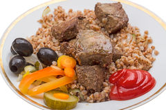 Cooked liver with buckwheat Royalty Free Stock Image