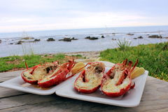 Cooked Lobster dish on picnic bench beside the sea Stock Images