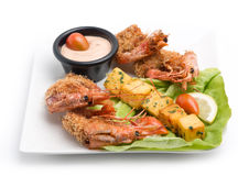 Cooked Lobsters plate served with potato and sauce Royalty Free Stock Images