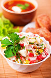 Cooked lunch: salad, soup Royalty Free Stock Images