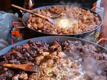 Cooked meal on the tray and grill. Fried pieces of pork and mutton stock video