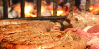 Cooked meat on the barbecue Royalty Free Stock Image
